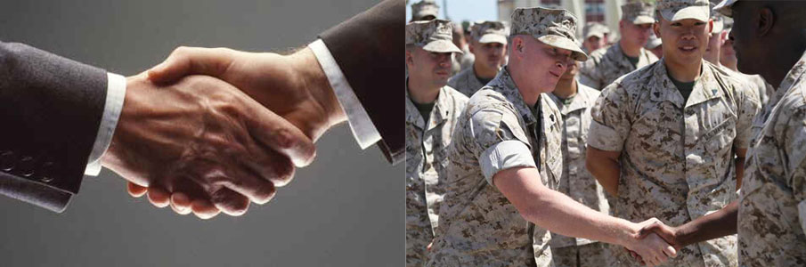 Photos of two hands shaking and two marines about to shake hands