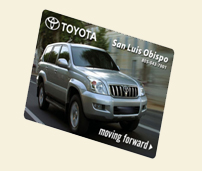 Image of gift card with silver Toyota SUV on it