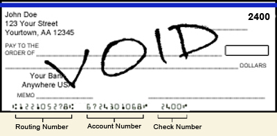 how to write a voided cheque